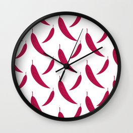 Autumn pattern with leaves on white background Wall Clock