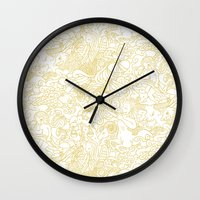 zodiac Wall Clocks featuring White Zodiac by Nina Y