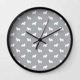 Bichon Frise dog pattern grey and white minimal pet patterns dog breeds silhouette Wall Clock
