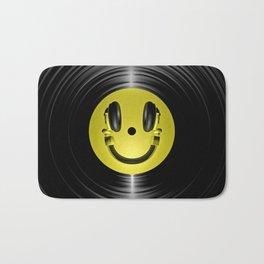 Vinyl headphone smiley Bath Mat