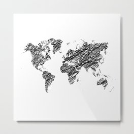 Scribble world map Metal Print