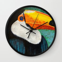 Colorful Toucan portrait Wall Clock