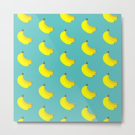 Banana Bunch Pattern (blue) Metal Print