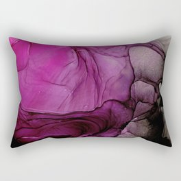 Pink Purple Black Abstract 123 Alcohol Ink Painting by Herzart Rectangular Pillow