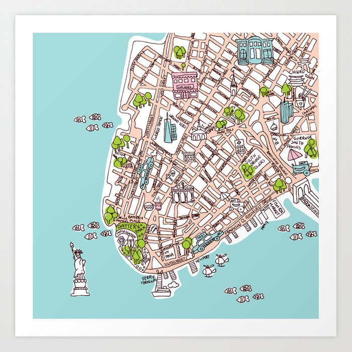 picture relating to Printable Map of Manhattan identify Enjoyable Refreshing York Town Manhattan highway map case in point Artwork Print via littlesmilemakersstudio