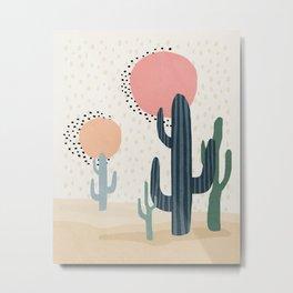 Cacti Desert, Mid century modern kids wall art, Nursery room Metal Print