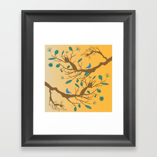 Birds on a branch 2 Framed Art Print