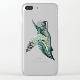 """Moonlit"" by Amber Marine - Sea Turtle, Acrylic Painting, (Copyright 2015) Clear iPhone Case"