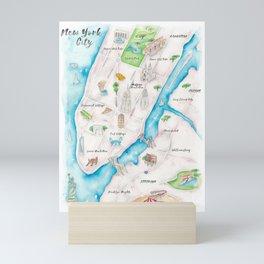 New York City Watercolor Map Mini Art Print