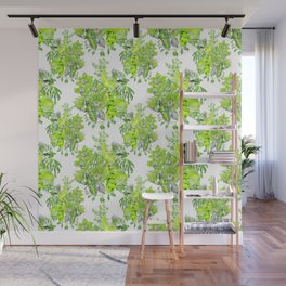 Chartreuse pattern on white Wall Mural
