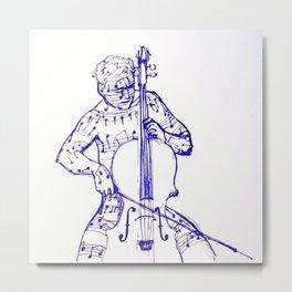 Cellist & Cello Metal Print