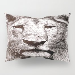 Lion Drawing Illustration Ink Black and White Pillow Sham