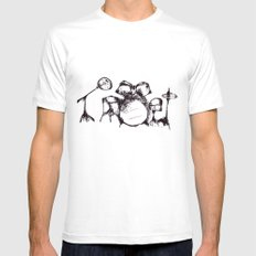 Drums MEDIUM White Mens Fitted Tee