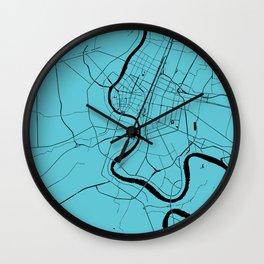 Bangkok Thailand Minimal Street Map - Turquoise and Black Wall Clock