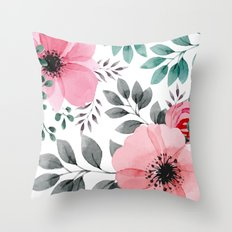 FLOWERS WATERCOLOR 14 Throw Pillow