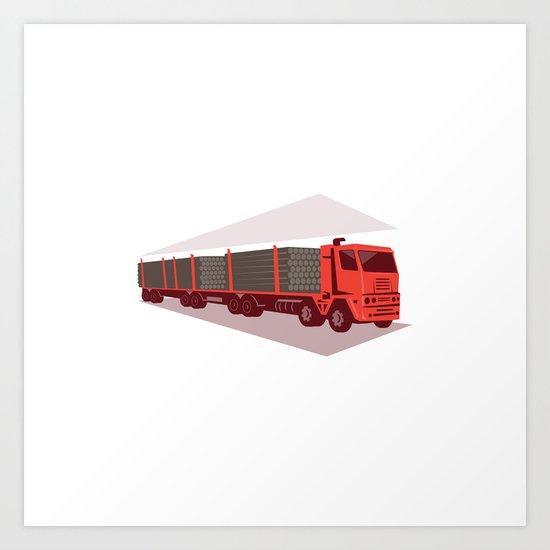 logging truck and trailer retro style Art Print