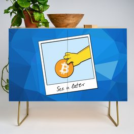 See you later Bitcoin on blue facets Credenza