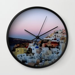 Dawn of Santorini Greece Wall Clock