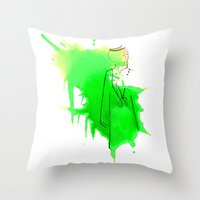 sword Throw Pillows featuring Sword Dance by Noura Bouzo