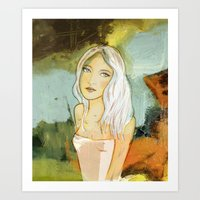 blondie Art Prints featuring blondie  by Agnes Laczo