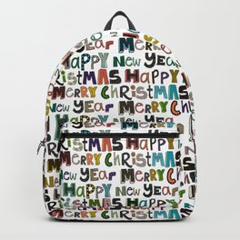 white merry christmas and happy new year Backpack