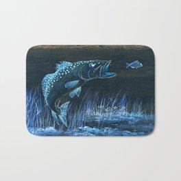 Trout Attack In Blue Bath Mat