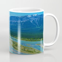 Looking over the Athabasca River on the east end of Jasper National Park, Canada Coffee Mug