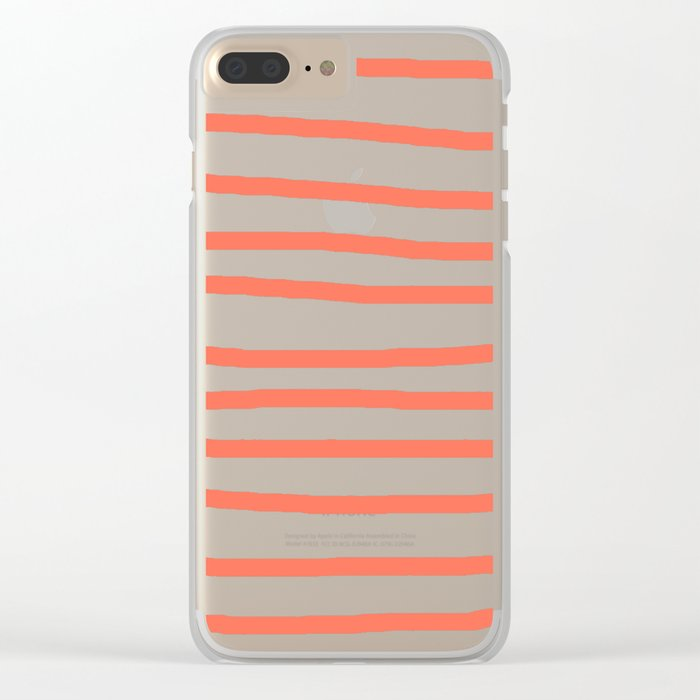 Simply Drawn Stripes in Deep Coral Clear iPhone Case
