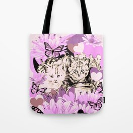Frieda's Baby Cats in Pink Tote Bag