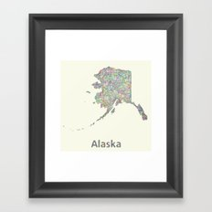 Alaska map Framed Art Print