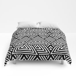 Triangle Pattern Black And White Comforters
