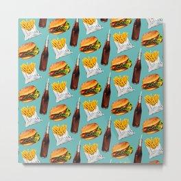 Cheeseburger Fries & Soda Pattern Metal Print