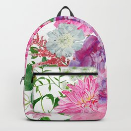 Pink bouquet of garden flowers Backpack
