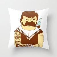 sailor Throw Pillows featuring Sailor by Regina Rivas Bigordá