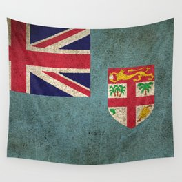 Old and Worn Distressed Vintage Flag of Fiji Wall Tapestry