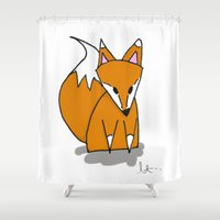 mr fox Shower Curtains featuring Mr. Fox by Laura Taylor