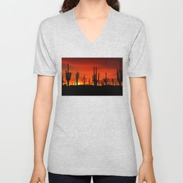 Illustration of cactus tree when the sunset Unisex V-Neck