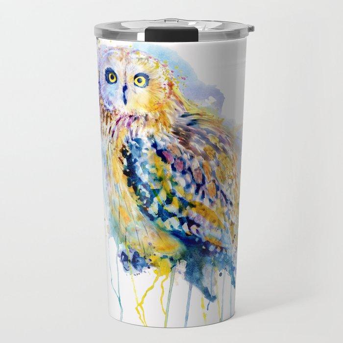 Short Eared Owl Watercolor painting Travel Mug