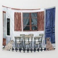 doors Wall Tapestries featuring Sidewalk restaurant with blue doors by Yuliya
