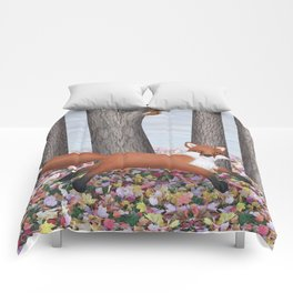 fox and squirrel Comforters