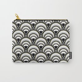 Monochrome and Gold Art Deco Scallops Carry-All Pouch