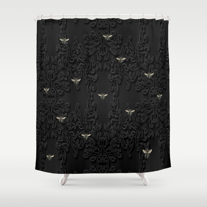 Black Bees And Lace Shower Curtain By Mentalembellisher