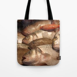 Variety of Fresh Fish Seafood on Ice 2 Tote Bag