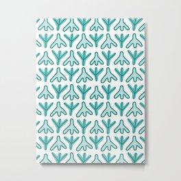 Chicken Feet - Geometric Pattern (Turquoise) Metal Print