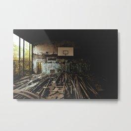 Olympic training center basketball court in Pripyat, Ukraine (Chernobyl) Metal Print