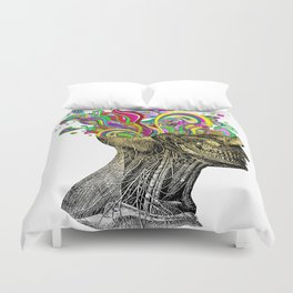 Bright neon pink yellow abstract anatomical skull Duvet Cover