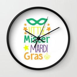 Little Mister Mardi Gras shirt Wall Clock