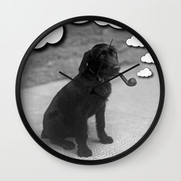Pipe Puffing Dog Wall Clock