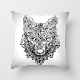 Ornament Wolf Throw Pillow