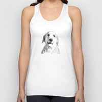 golden retriever Tank Tops featuring Amber // Golden Retriever by Dog of Art